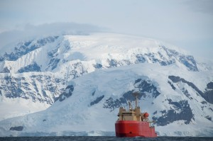 The Laurence M. Gould in one of the many coves off the West Antarctic Peninsula.