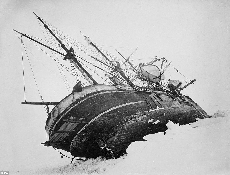 The Endurance, beset in the pack ice of the Weddell Sea. The Royal Geographic Society has released a new set of high resolution images from the expedition.